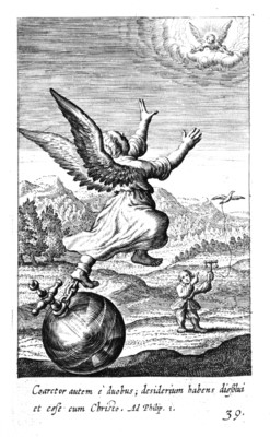 A winged figure whose ankle is chained to an orb stretches her hand to an angelic figure in the sky.