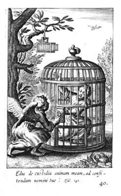 A winged figure turns a key in the lock of a human-sized birdcage in which someone is imprisoned.